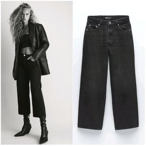 NWT ZARA | Cropped Wide Leg Jeans Black
